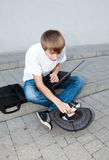 Young programmer in street Stock Photography