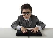 Young programmer. Writes a new software with computer Royalty Free Stock Photos