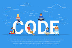 Young programmers coding a new project. Code concept illustration of students using laptops for developing programs and app. Flat modern design of young Royalty Free Stock Photos