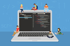 Young programmers coding a new project. Sitting on big laptop with command line. Flat modern illustration of young programmer coding a new project using Royalty Free Stock Photo