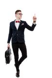 Young promoter businessman pointing at side isolated on a white Royalty Free Stock Photos