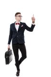 Young promoter businessman pointing at side Stock Photos