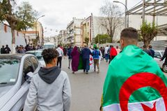 Young protesters in Algiers`s streets royalty free stock photos