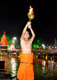 A young pundit boy performing river aarti on the bank of kshipra at the simhasth maha kumbh mela 2016, Ujjain India Stock Images