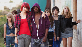 Young Punk Couple with Friends Royalty Free Stock Image