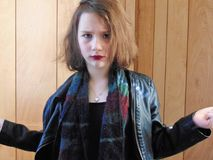Young Punk Rocker Chick Portrait. Young punk rocker chick poses for the camera Royalty Free Stock Photography