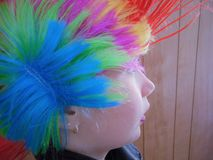 Young Punk Rocker Chick With Rainbow Mohawk. Young punk rocker chick poses for the camera Stock Photos