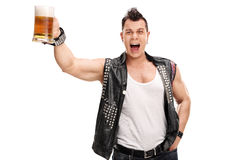 Young punk rocker holding a pint of beer. And shouting isolated on white background Royalty Free Stock Images