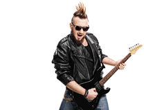 Young punk rocker playing electric guitar. Isolated on white background Stock Image
