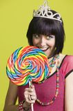 Young punk woman with a big lollipop Stock Photos