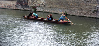 Young punter punting in Cambridge Stock Image