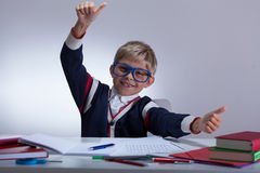 Young pupil showing okay gesture Stock Photos