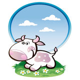 Young purple cow cartoon. Nice cow in the meadow flowers Stock Image