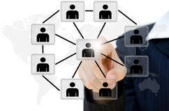 Young pushing people communication social network. Business young pushing people communication social network on whiteboard Royalty Free Stock Photo