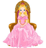 Young queen. Illustration of young queen sitting on the throne vector illustration