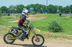 Young racer motorcycle Royalty Free Stock Image