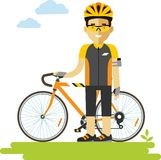 Young racing cyclist man with bike in flat style Royalty Free Stock Images