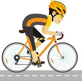Young racing cyclist man with bike in flat style Royalty Free Stock Photo
