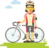 Young racing cyclist woman with bike in flat style Royalty Free Stock Image
