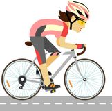 Young racing cyclist woman with bike in flat style. Racing bicyclist girl with bike  on white background Stock Image