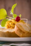 Young radish on scrambled eggs with pastry Royalty Free Stock Image