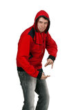 Young rapper in the red sweater Royalty Free Stock Image