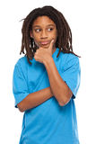 Young rasta kid thinking in studio Royalty Free Stock Photos