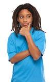 Young rasta kid thinking in studio Royalty Free Stock Photos
