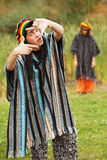 Young rastafarian people in autumn park Stock Image