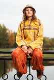 Hippie fashion woman in autumn park Royalty Free Stock Photo