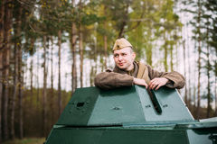 Young Re-enactor Dressed As Russian Soviet Soldier Of World War Stock Photos