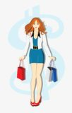 Young readhead shopping girl Royalty Free Stock Photos