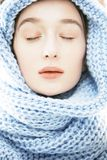 Young real blond woman in scarf Royalty Free Stock Photos