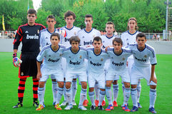 Young Real Madrid team. Before the third-place match between Real Madrid and Inter Milan in International Youth Football Tournament U-17 08/19/2012 stadium Stock Images