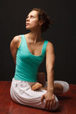 Young real yoga instructor practicing Royalty Free Stock Images