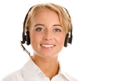 Young receptionist wearing headset Stock Photo
