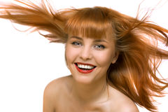 Young red hair happy woman isolated Stock Photography