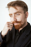 Young red hair man with beard and mustache in Stock Photography