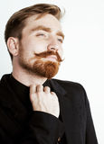 Young red hair man with beard and mustache in Stock Image