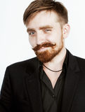 Young red hair man with beard and mustache in Royalty Free Stock Photography