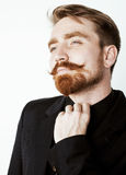 Young red hair man with beard and mustache in Royalty Free Stock Photos