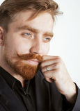 Young red hair man with beard and mustache in Royalty Free Stock Image
