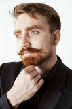 Young red hair man with beard and mustache in Stock Photo