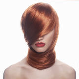 Young red hair woman with red lips Royalty Free Stock Image