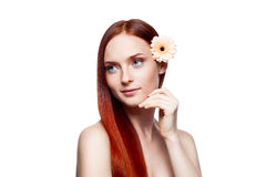 Young red-haired female with flower in hair. Horizontal studio beauty portrait of young attractive green-eyed red-haired gently smiling caucasian female with Royalty Free Stock Images