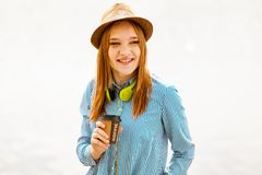 Young red haired girl royalty free stock images