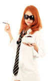 Young red-haired girl and coffee Stock Image
