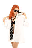 Young red-haired girl and coffee Stock Images