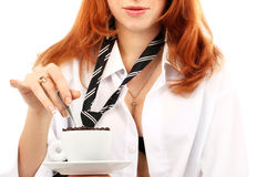 Young red-haired girl and coffee Royalty Free Stock Photos