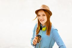 Young red haired girl stock photos